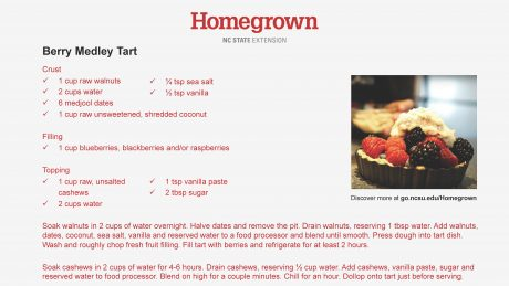 Card with recipe for berry tart medley_Homegrown series from NC State Extension