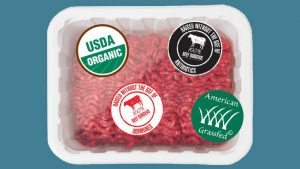 "Package of ground beef with four food labels featuring various claims, like ""organic"" and ""grass fed"""