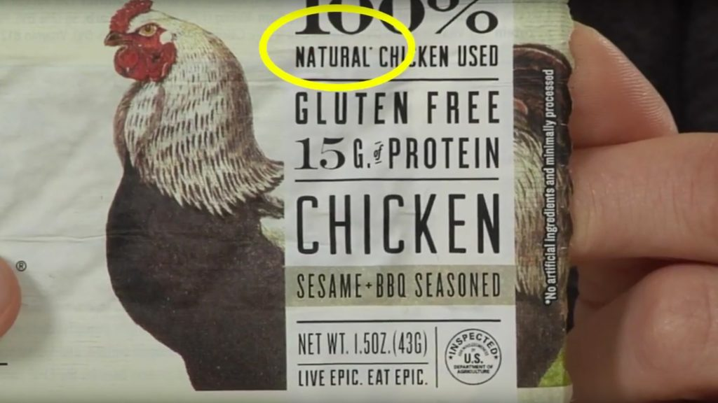 "Label on package of fresh chicken displaying the ""natural"" claim"