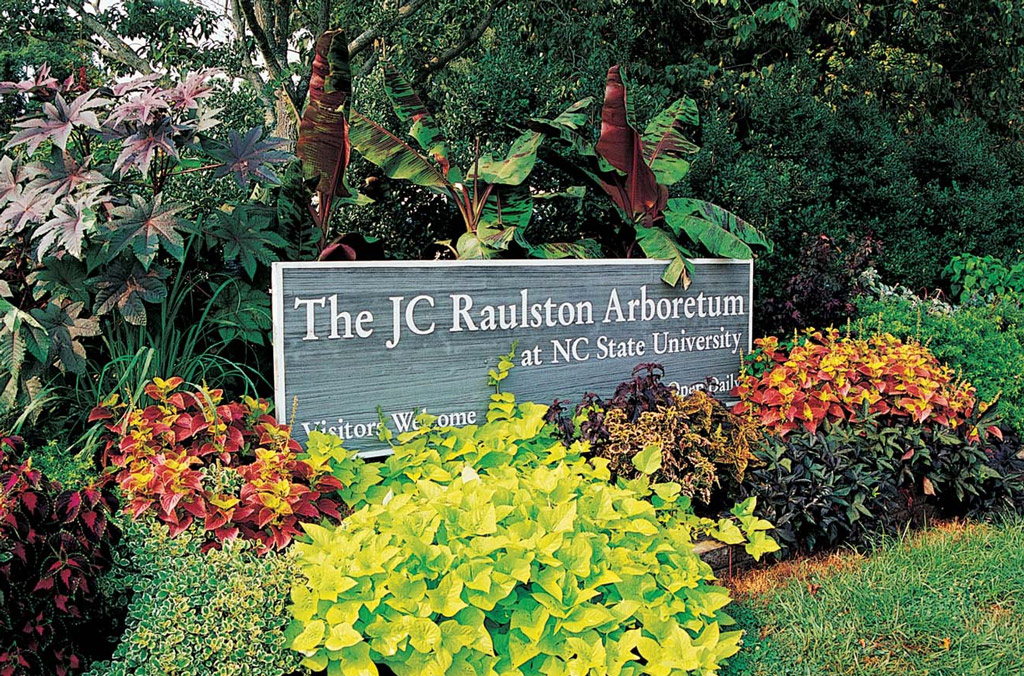 A wooden entrance sign surrounded by colorful flowers and shrubs at NC State University's JC Raulston Arboretum in Raleigh, N.C.