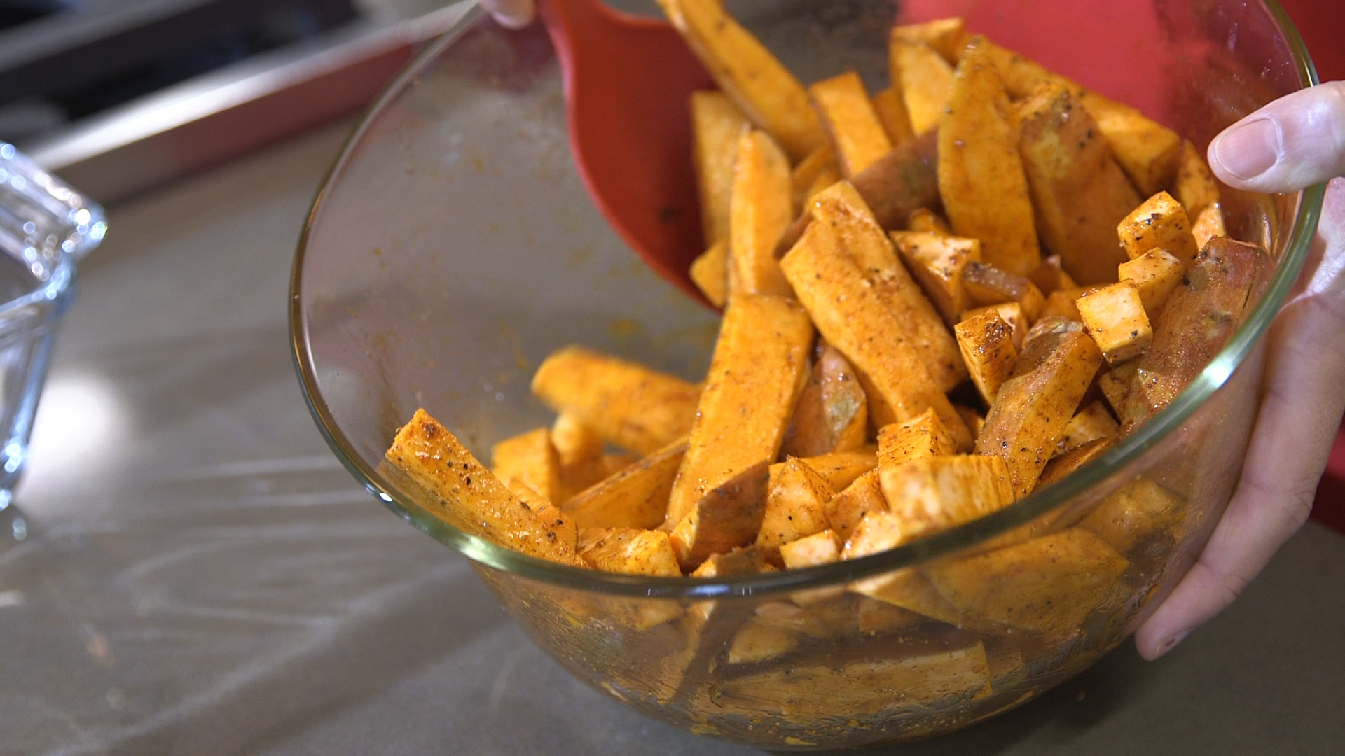 A glass bowl with sweet potato fries made using a recipe from NC State Extension's Homegrown video series.