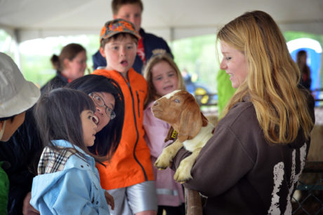 A young woman is holding a goat for families to see at a farm animals event.