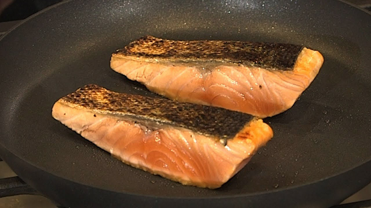 Seared salmon in a skillet