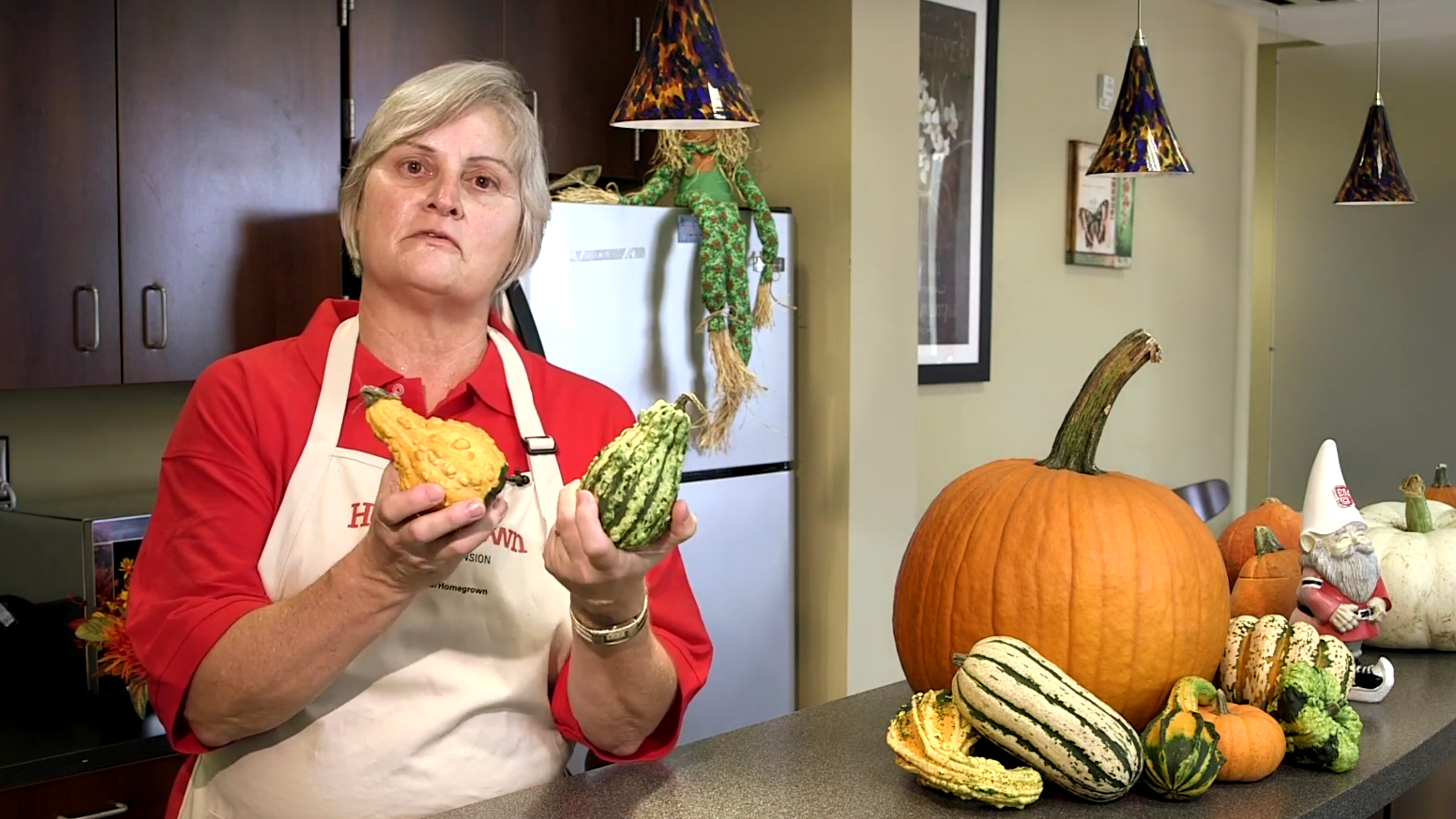 A woman is holding two gourds while standing in a kitchen, with a selection of other colorful gourds on the counter.