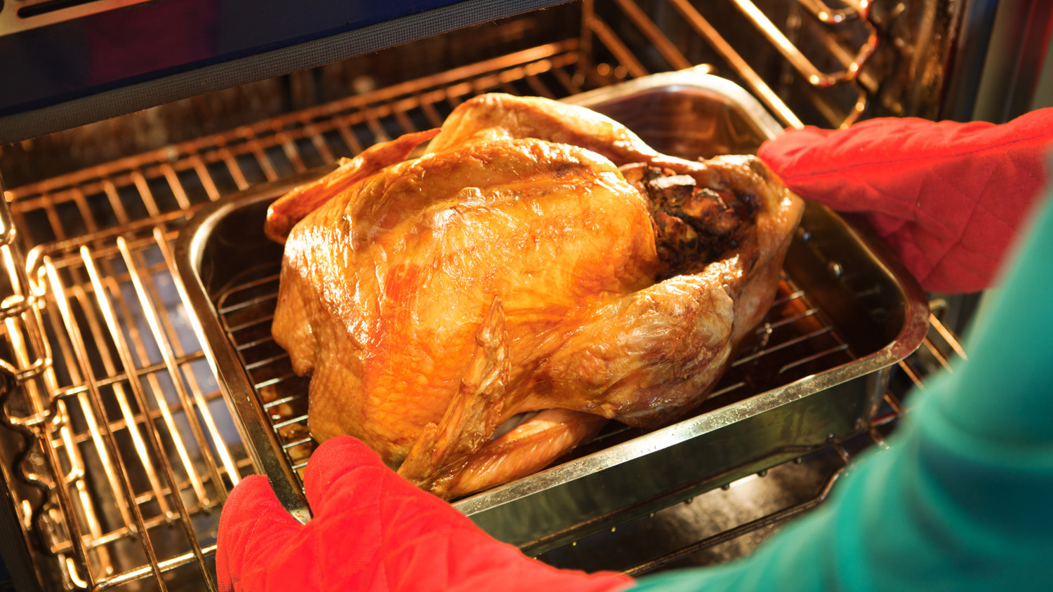 Unidentified person removing a pan of roasted turkey with stuffing fresh from the kitchen oven.