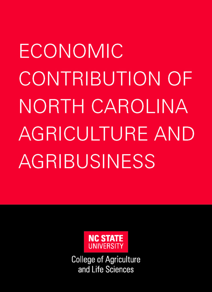 """Picture of the cover for a booklet titled, """"Economic Contribution of North Carolina Agriculture and Agribusiness"""""""