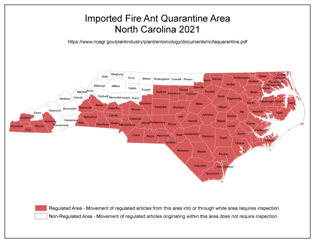 Map highlighting North Carolina counties that are classified as quarantine areas for red imported fire ants in 2021.