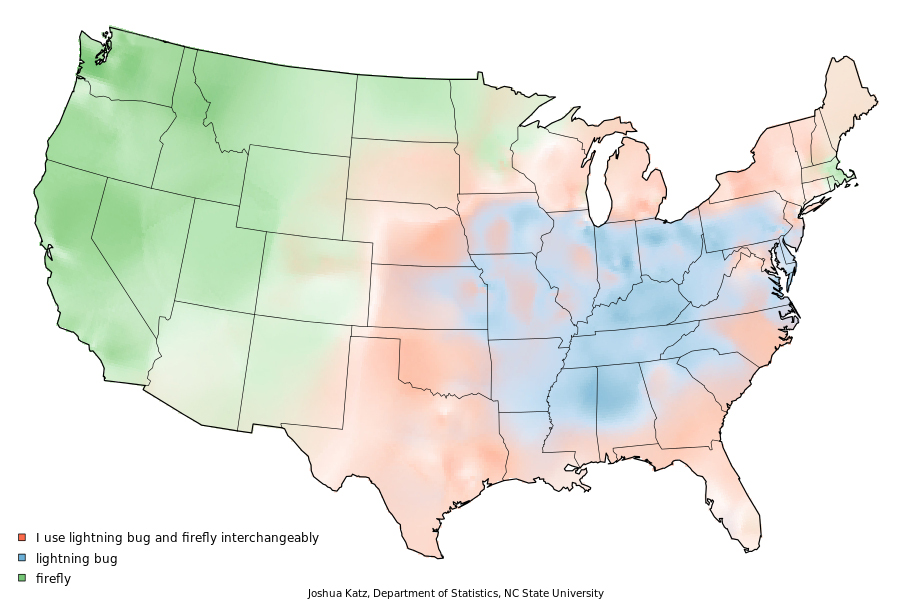 """A heat map of the United States illustrating in which parts of the country people tend to say """"firefly"""" or """"lightning bug."""" Created by Josh Katz while at NCState University."""
